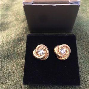 Vintage Avon Center Knot Rhinestone Earrings